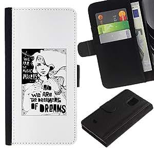 For Samsung Galaxy S5 Mini / Galaxy S5 Mini Duos / SM-G800 !!!NOT S5 REGULAR! ,S-type® Dreams Dreamer Poster White Black Minimalist - Dibujo PU billetera de cuero Funda Case Caso de la piel de la bolsa protectora