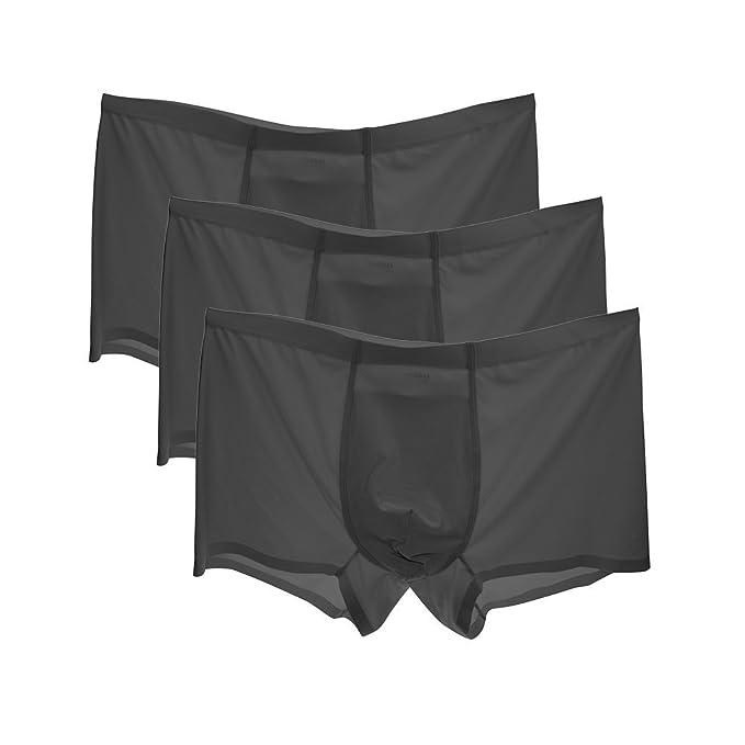 HuntDream Escritos Atractivos de los Hombres Hielo de Seda cómodo Paquete de Ropa Interior de 3