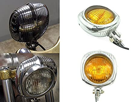 "4/"" Electroline Black Yellow Aluminum Headlight Harley XS 650 Tri Bobber Chopper"