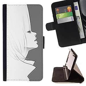 """For HTC One A9,S-type Arte Dibujo 60'S Moda Lápiz de pelo"""" - Dibujo PU billetera de cuero Funda Case Caso de la piel de la bolsa protectora"""