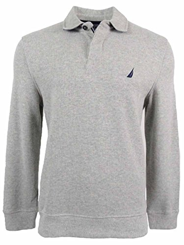Nautica Men's Classic Fit French Ribbed Polo Sweater Grey XXL ()
