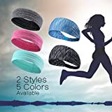 Sports Headbands -Sweatbands Moisture Wicking Athletic Wristbands Pack of 6 for Men and Women Running Yoga Crossfit Workout Wide Stretchy Headwear (5 pieces headbands)