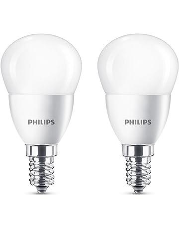 Philips LED bombilla esférica de casquillo fino E14, consume 5.5 W equivalente a 40 W
