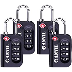 TSA Luggage Locks (4 Pack) - 4 Digit Combination Steel Padlocks - Approved Travel Lock For Suitcases & Baggage (BLACK 4 PACK)