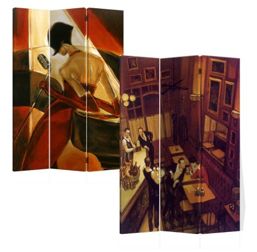 Roundhill 3-Panels Double Sided Canvas Painting Room Divider Screen, Night at Bar