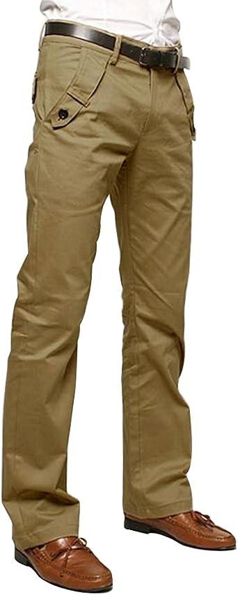 Quge Hombre Chino Pantalones Rectos Regular Fit Casual Oficina Largo Pantalon Amazon Es Ropa Y Accesorios
