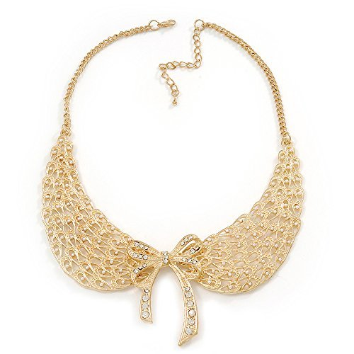 Angel Wings' Peter Pan Collar Necklace In Gold Plating - 38cm Length/ 6cm Extension by Avalaya