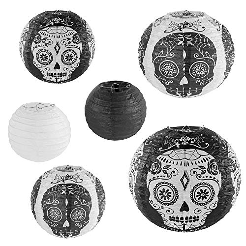 Skull Design Day of The Dead Chinese/Japanese Hanging Black/White Paper Lanterns Metal Frame for Spooky Scary Halloween Party, Home Lamps, Haunted House Event Decoration (Set of 6) -