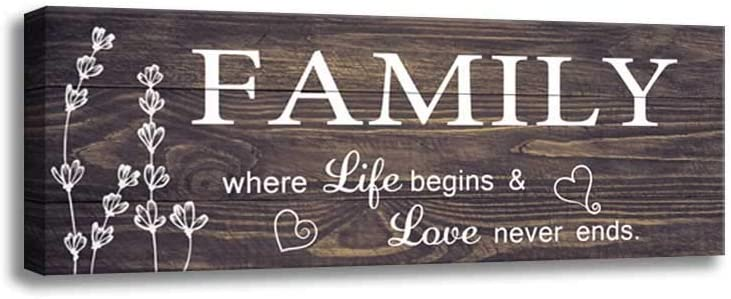 Inspirational Motto Family Rules Wall Art Signs, Vintage Canvas Print Wood Grain Background Design, Bedroom, Living Room, Home Wall Decoration Plaque (6 X 17 inch, Family-D)