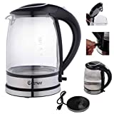 110v kettle - Safstar 1500W 2.0 L Capacity Glass Electric Hot Water Tea Kettle with Blue LED Light