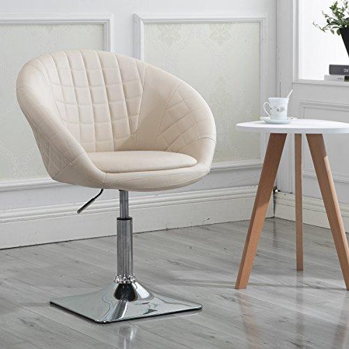 Round Swivel Chair, Luxury Leather Backrest Adjustable Tilt Vanity Accent Chair, Cream … by windaze