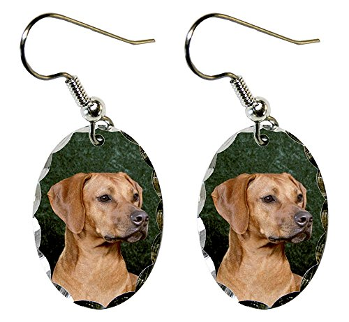 Canine Designs Rhodesian Ridgeback Scalloped Edge Oval Earrings