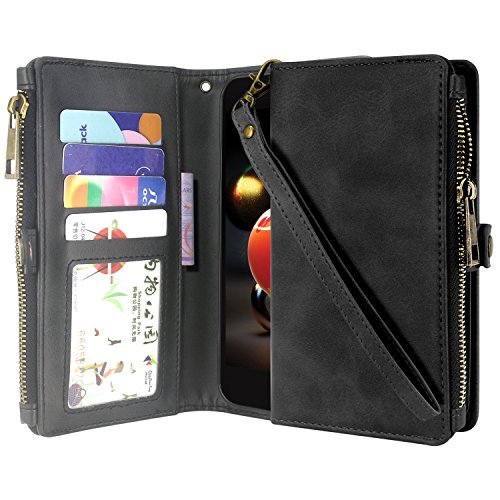 LG Aristo 2 Case, LG Tribute Dynasty Case, LG Zone 4 Case, LG Fortune 2 Case, Premium Leather Flip Zipper Wallet Case Stand Feature with Card Holder and Wrist Strap - Zipper Black
