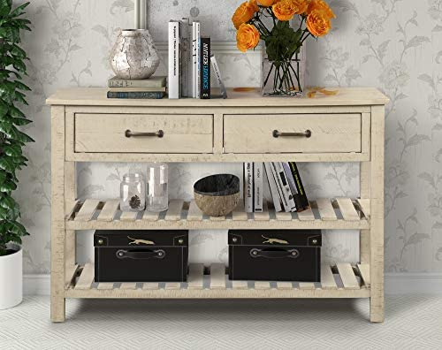 HARPER BRIGHT DESIGNS Console Table for Entryway with Drawers and Shelf Living Room Furniture, Antique Gray