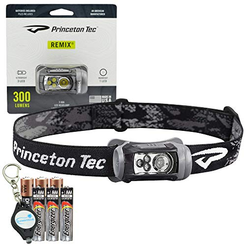 - Princeton Tec Remix Headlamp 300 Lumens with 3 White Ultrabright LEDs Bundle with 3 Extra Energizer Batteries and a Lumintrail Keychain Light (Black)