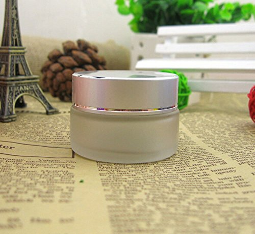 (TOPWEL 3PCS 10g/20g/30g Sliver Refillable Frosted Glass Cosmetic Cream Jar Pot Bottle Container (10g))