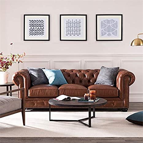 Amazon.com: BOWERY HILL Leather Chesterfield Sofa in ...