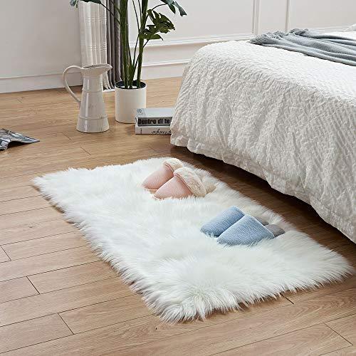 LEEVAN Rectangle Sheepskin Rug Supersoft Fluffy Area Rug Shaggy Silky Throw Rug Floor Mat (2 ft x 4 ft, White)