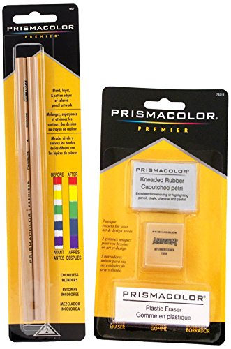 Prismacolor 2 Piece Premier Colorless Blender Pencils Plus 3 Eraser Set Bundle