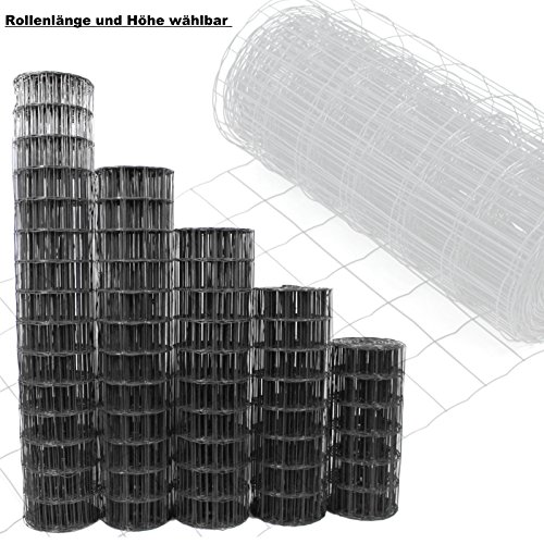 Gartenzaun Anthrazit - Höhe und Länge wählbar + kostenloser Versand / Maschendraht Zaun Gitterzaun Maschung 10x7,5 cm Schweißgitter Wildzaun (10 Meter Länge x 0.6m Höhe)