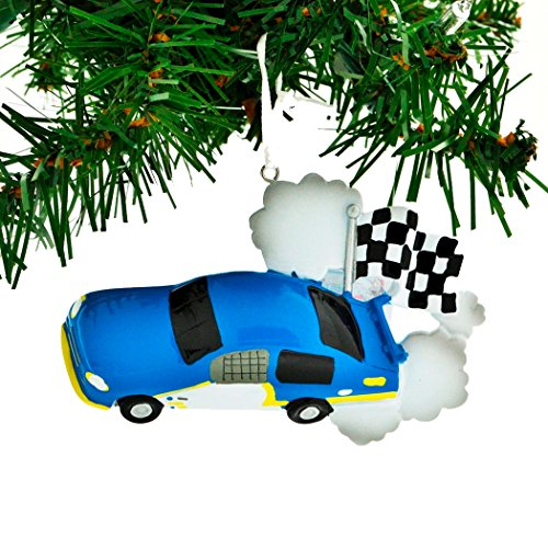 Personalized Race Car Checkered Flag Christmas Tree Ornament 2019 - Blue Motorsport Auto-Mobile Street Racing Off-Track Action Formula 1 Video Game Boy Holiday Hobby Gift Year - Free Customization ()