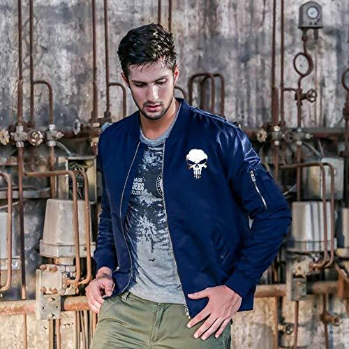 De Bombardero Los Cráneo Jacket Jacket De Collar Hombres Lino Acolchado Cómodo De Flight De Modelado Delgado Chaqueta Manga Vuelo Larga Blau Chaqueta Battercake De Chaqueta 0OHxFwc