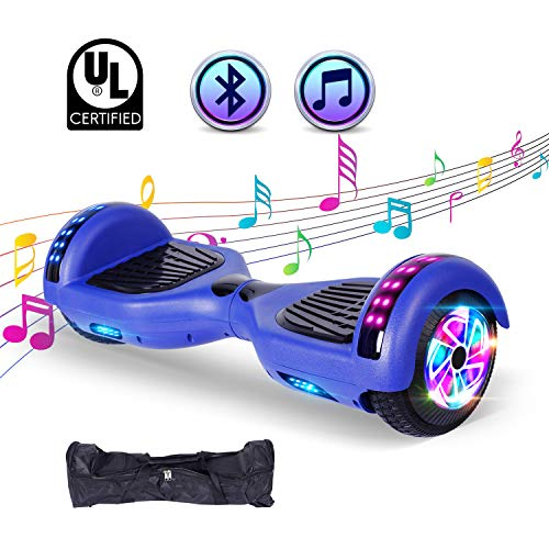 "SWEETBUY Hoverboard UL 2272 Certified 6.5"" Two-Wheel Bluetooth Self Balancing Electric Scooter with LED Light Flash Lights Wheels Blue (Free Carry ()"