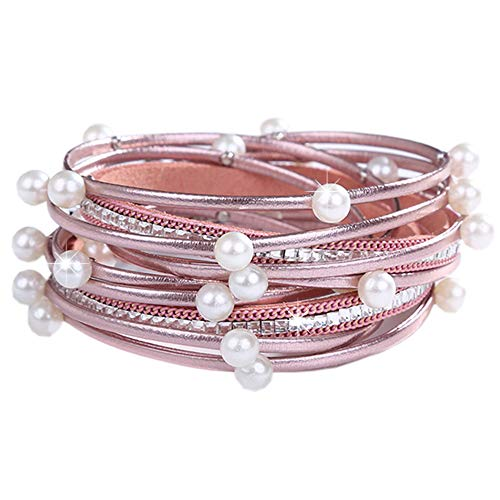 Leather Boho Wrap Ermish Stackable Bracelets,Cuff Wrap Boho Braided Womens Multilayer Wide Wristbands Wrist Magnetic Clasp Buckle Casual Bangle Bracelets for Teen Girls,Women,Boy Gift(U-P B)