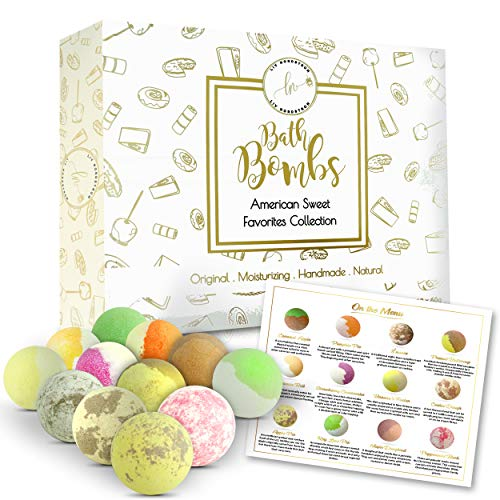 Natural Bath Bombs American Sweet Favorites Collection Valentines Gift set Fizzy Bubble Bath Spa Moisturize Dry Skin Perfect Gift Mothers Day Birthday Gift for Women Wife Girlfriend Mom Kids Teens