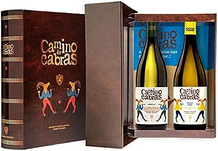 CAMINO DE CABRAS Estuche de vino – Ribeiro D.O. Ribeiro + Godello D.O. Valdeorras - Vino blanco –Producto Gourmet - Vino para regalar - Vino Premium - 2 botellas x 750 ml.