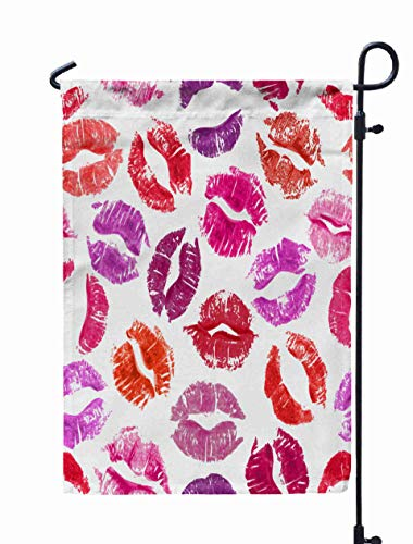Shorping Season Garden Flag, 12x18Inch for Holiday and Seasonal Double-Sided Printing Yards Flags Seamless Pattern with Lipstick Kisses Colorful Lips Imprints of red purp