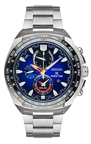 (Seiko Prospex World Timer Solar Mens Blue Dial Watch SSC549)
