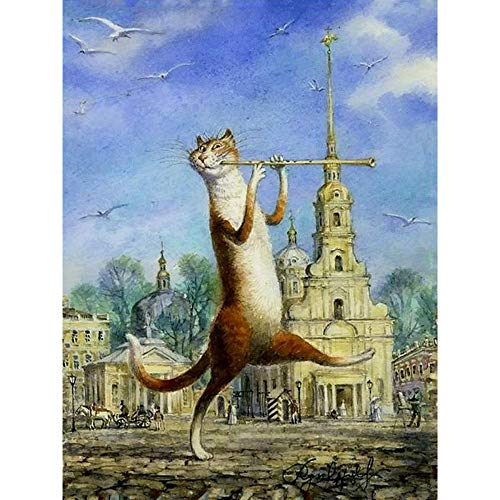 - wanghan Painting by Number Cat Playing Flute Animal DIY Digital Painting by Numbers Modern Wall Art Canvas Painting Unique Gift Home Decor 40X50Cm