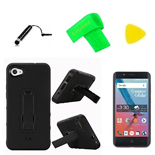 Hybrid w Kickstand Cover Phone Case + Screen Protector + Extreme Band + Stylus Pen + Pry Tool For Consumer Cellular ZTE Avid 557 (Black-Black)