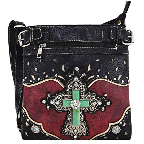 Western Rhinestone Cross Tooled Leather Concealed Carry Purse Crossbody Handbag Women Single Shoulder Bag (Red)