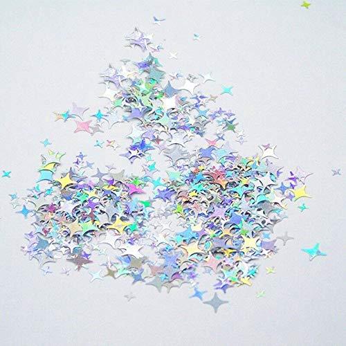Holographic Nail Art Decoration Sequins Stars Iridescent Flakes Manicure Secrets (model - Silver)