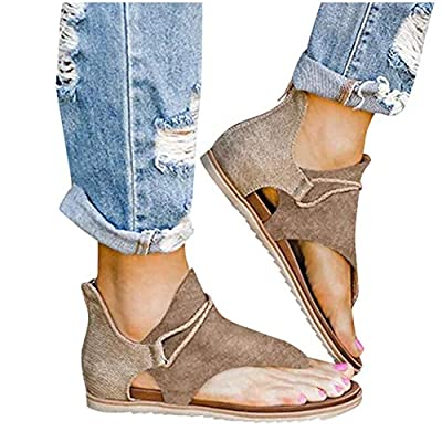Sandals for Women Flat, Comfy Sandals Ladies Fashion Leopard/Zebra/Snake Pattern Flat Heel Slip On Sandals with Zipper: Clothing