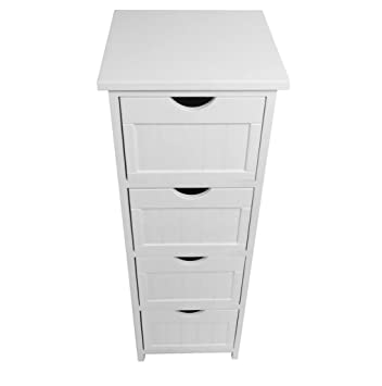 Assembled Slim Narrow White 4 Chest Of Drawer Bedside Table Storage Unit  Cabinet (30x30x82cm): Amazon.co.uk: Kitchen & Home