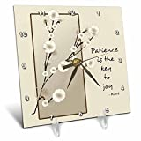 3dRose dc_55628_1 Patience is The Key to Joy Floral-Inspirational Rumi Poetry-Desk Clock, 6 by 6-Inch