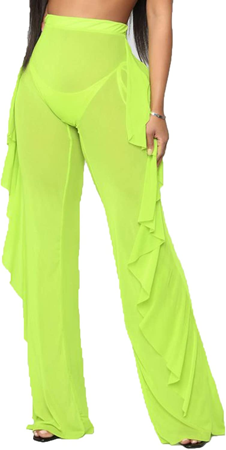 Y Green, X-Large Doqcey Womens Perspective Sheer Mesh Ruffle Pants Swimsuit Bikini Bottom Cover up