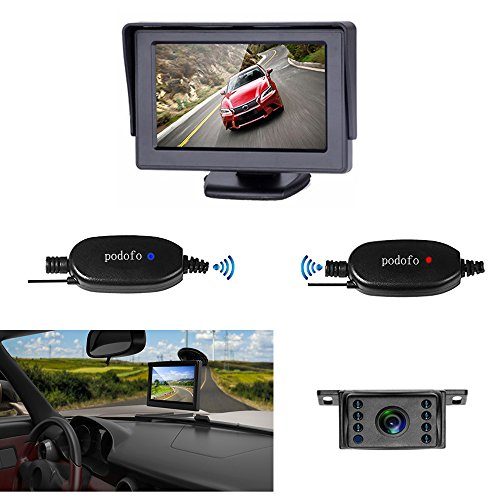 Podofo Wireless Rear View Backup Camera and Monitor Kit for Car / Vehicle / Truck / Van / Caravan / Trailers / Camper with 7 LED Night Vision Mini License - Van Optical Hours