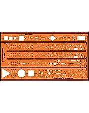 Graphoplex Sjabloon Euro-Elektro IEC617, GXST3371, Oranje/Transparant