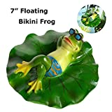 SIGMALL Floating Pond Decor, Funny Rowing Frog Statue, Outdoor Simulation Resin Cute Frog Sitting on Lotus Leaf, Floater for Home Pool Lawn Decoration Garden Art in Water (Bikini Frog)