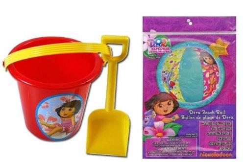 Dora Sand Bucket and Shovel + Beach Ball Set