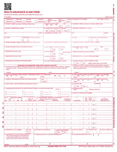 NEW CMS 1500 Claim Forms - HCFA (Version 02/12) 500 per Ream by Next Day Labels