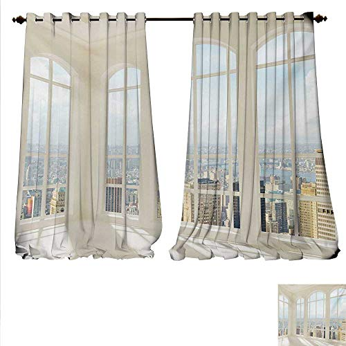 familytaste Blackout Draperies for Bedroom Big White Contemporary Apartment Flat Overlooking The City Urban View Print Blackout Window Curtain W120 x L108 White Baby Blue.jpg