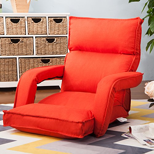 Merax Fabric Folding Sofa Chair Floor Chaise Lounge Gaming Chair Orange by Merax