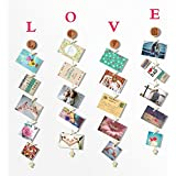 O-KIS Love-Photo Display, Picture Frame Collage Set Includes Natural Wood, Golden Chain, 20 Wood Clips Crystal Pendent