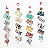 O-KIS Love Photo Display, Picture Frames Collage Set Includes Natural Wood, Golden Chain, 20 wood Clips, with Crystal Pendent