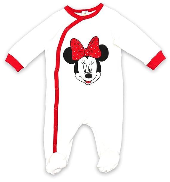 Ropa de descanso para niñas Minnie Mouse infantil con forma de sobre de color blanco tamaños desde Tiny Pelele para bebé con pies Los niños 24 meses: ...